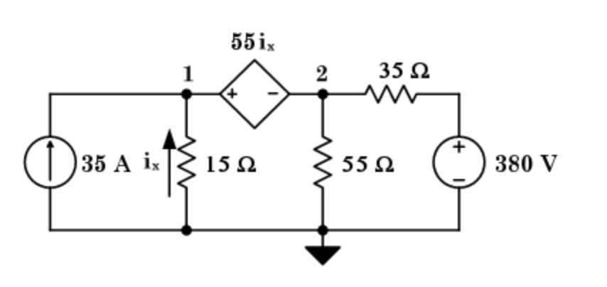 calculate the node voltages V1