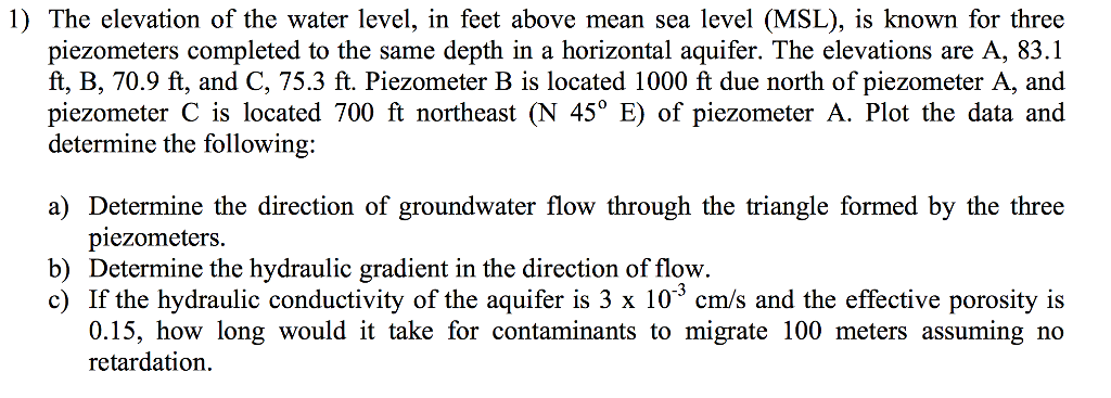 The Elevation Of The Water Level In Feet Above Me Cheggcom - Elevation in feet above sea level