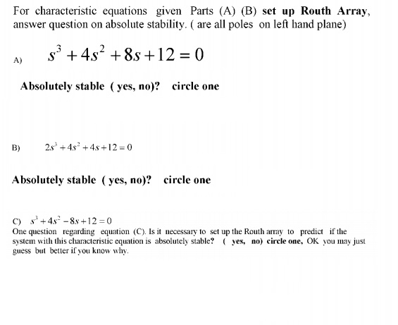 For characteristic equations given Parts (A) (B) s