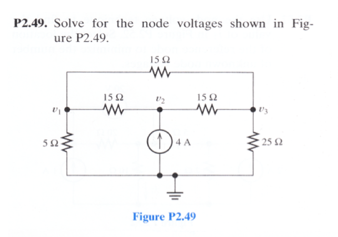 Solve for the node voltage shown in Figure P2.49.