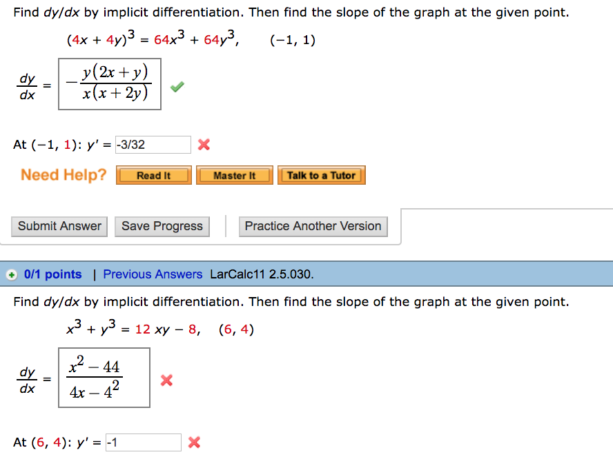 Find dydx by implicit differentiation then find chegg find dydx by implicit differentiation then find the slope of the graph at ccuart Choice Image