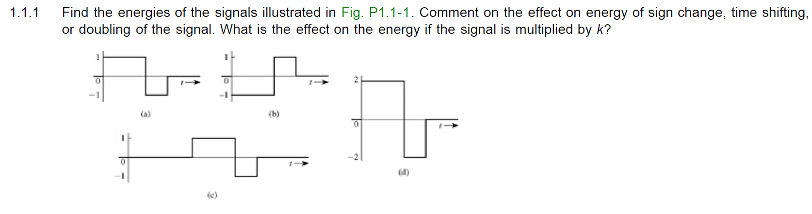 Find the energies of the signals illustrated in Fi