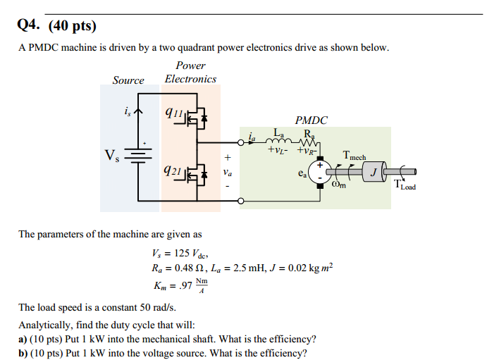 A PMDC machine is driven by a two quadrant power e