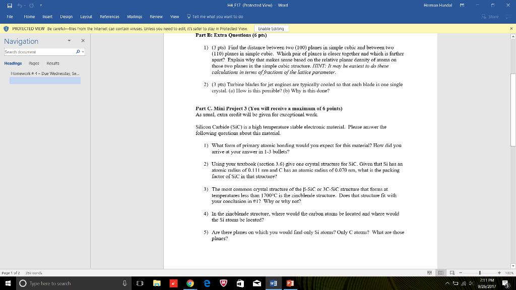 H4 F17 (Protectrd Virw) Word Heman Hurdal File Hom... | Chegg.com