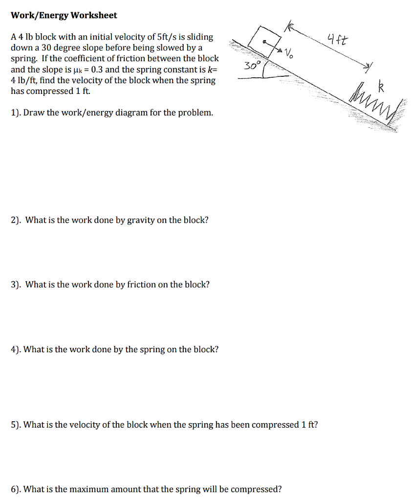 worksheet Coefficient Of Friction Worksheet solved a 4 lb block with an initial velocity of 5fts is workenergy worksheet 5fts