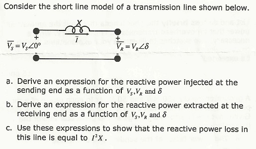 Consider the short line model of a transmission li