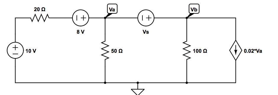 For the circuit attached, find the value of the vo