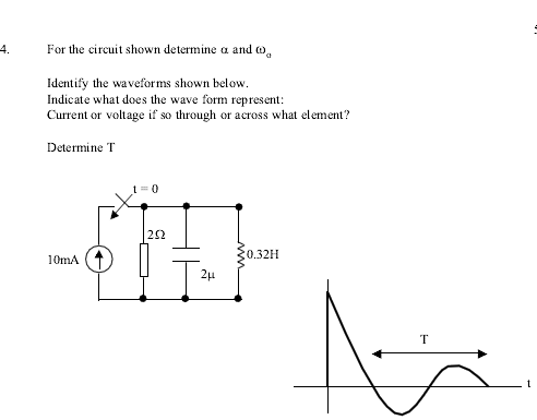 For the circuit shown determine alpha and omega (o