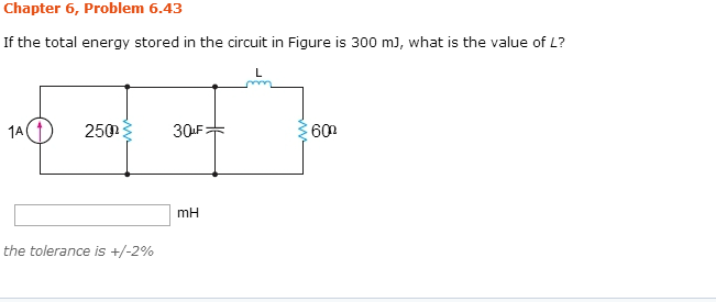 If the total energy stored in the circuit in Figur