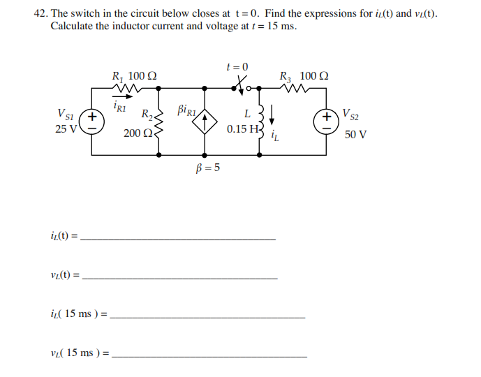 The switch in the circuit below closes at t = 0. F