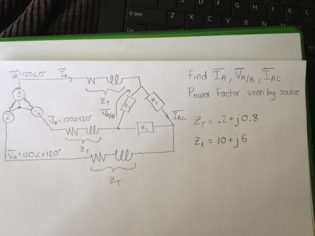 Find Power Factor seen by source = .2 + j0.8 =