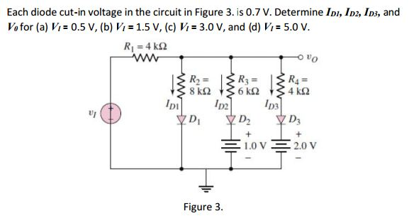 Each diode cut-in voltage in the circuit in Figure
