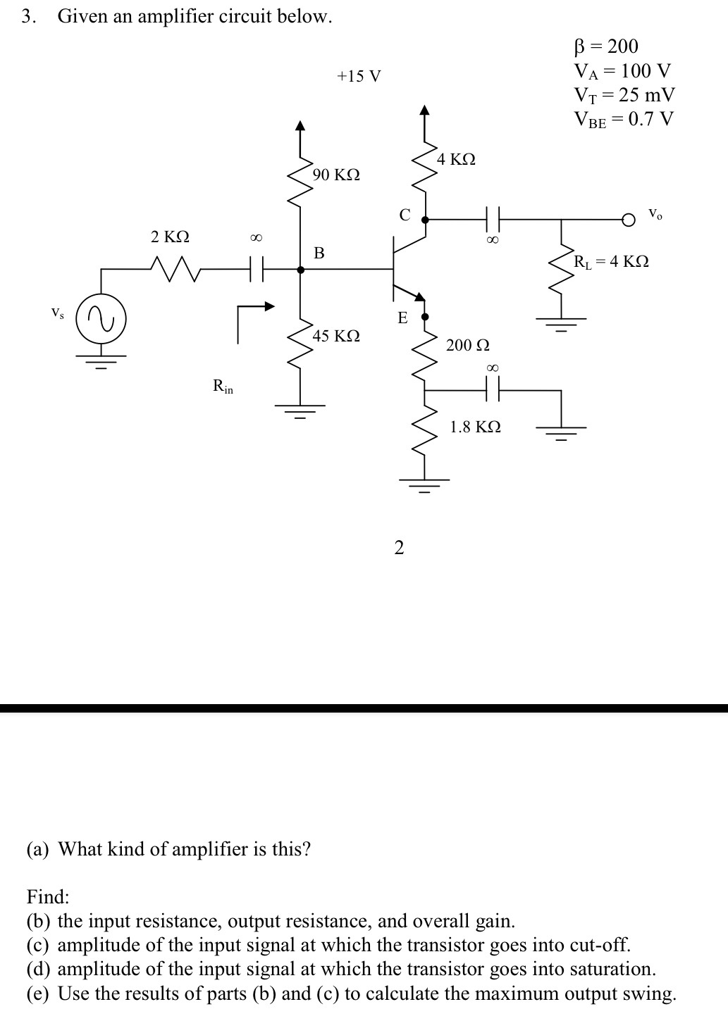 Given an amplifier circuit below. What kind of am