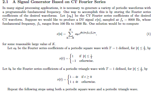 A Signal Generator Based on CT Fourier Series In m