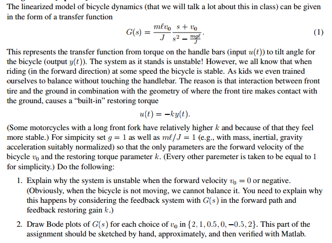 The linearized model of bicycle dynamics (that we