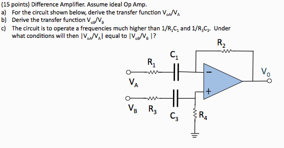 Difference Amplifier. Assume ideal Op Amp. For the