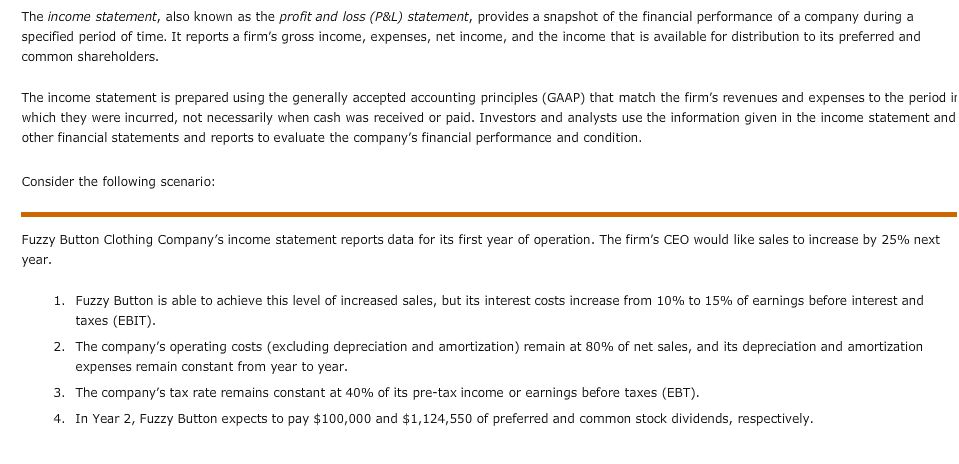The Income Statement, Also Known As The Profit And  | Chegg.Com
