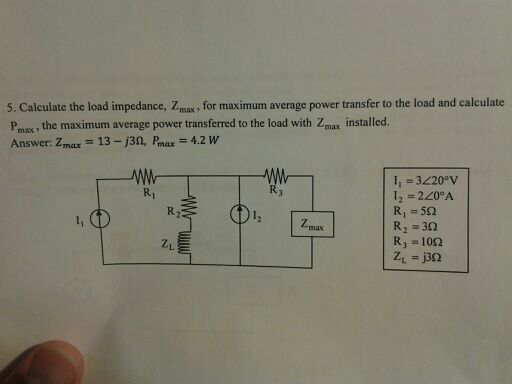 Calculate the load impedance, Zmax, for maximum a