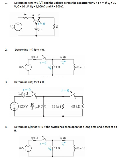 Determine vt(0') vc(0*) and the voltage across th