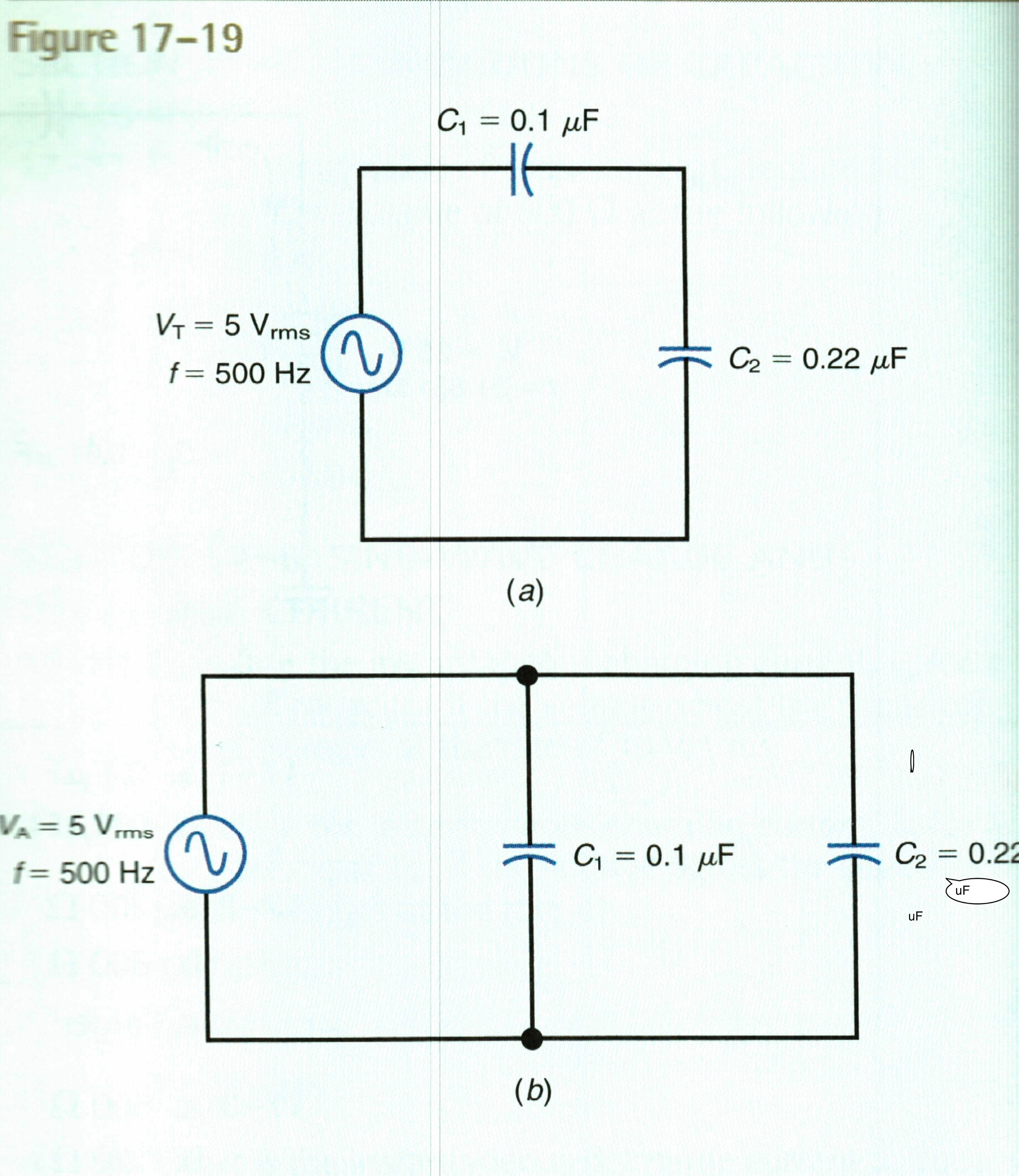 Refer to the circuit in Fig 17-19a Calculate and r