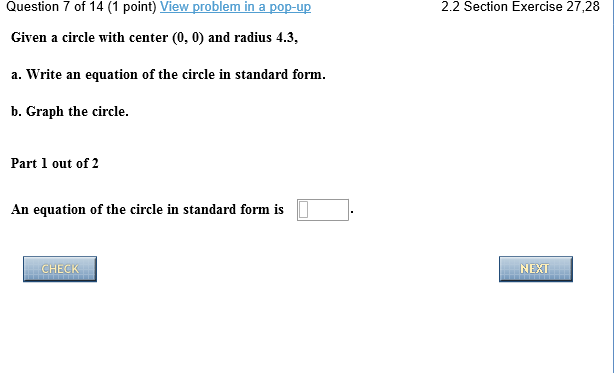 Solved Given A Circle With Center 0 0 And Radius 43