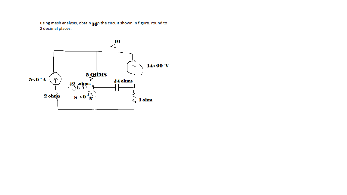using mesh analysis, obtain in the circuit shown i