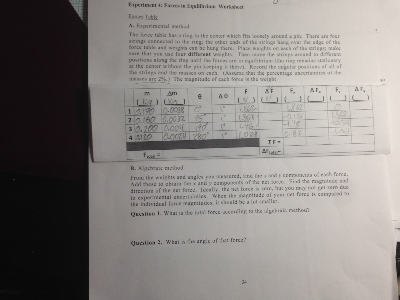worksheet Equilibrium Worksheet experiment 4 forces in equilibrium worksheet forc chegg com help with completing the table a experimental method force table
