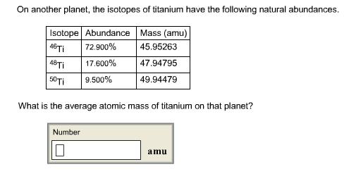 Average atomic masses homework