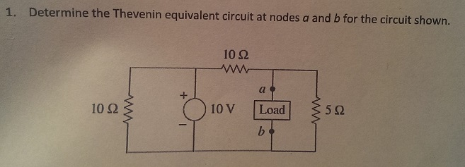 Determine the Thevenin equivalent circuit at nodes