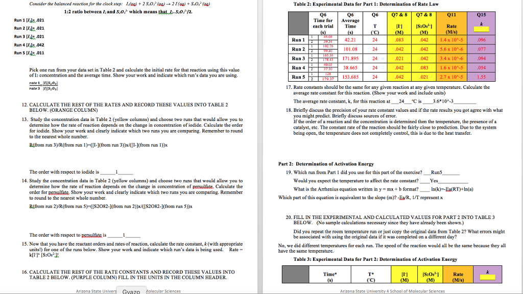 Lab Report Worksheet What Are The Kinetics Of An – Chemical Kinetics Worksheet