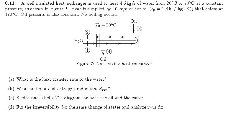 A well insulated heat exchanger is used to heat 4.