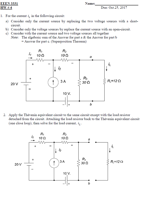 Solved: 1. For The Current Li In The Following Circuit: A ...