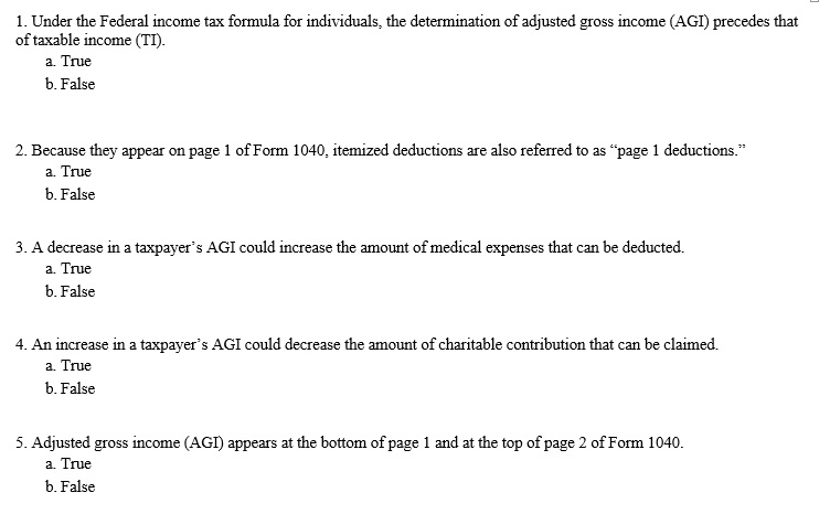 Solved under the federal income tax formula for individua question under the federal income tax formula for individuals the determination of adjusted gross income publicscrutiny Images