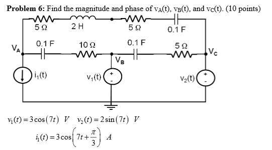 Find the magnitude and phase of vA(t), vB(t), and