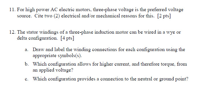 For high power AC electric motors, three-phase vol