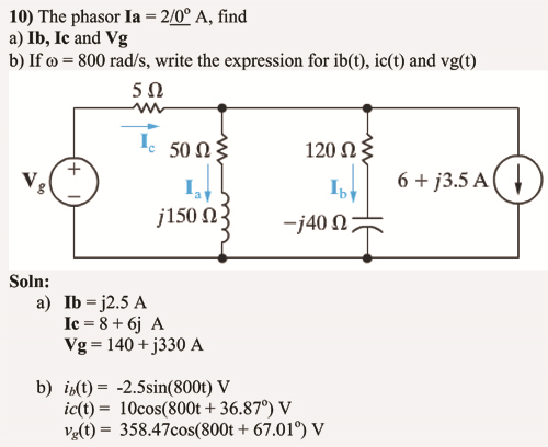 The phasor la = 2/0degree A, find lb, Ic and Vg