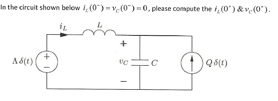 In the circuit shown below iL(0-) = vc(0-) =0, ple