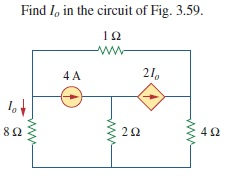 Find I0 in the circuit of Fig. 3. 59.