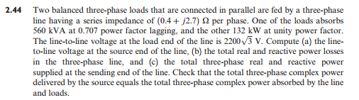 Two balanced three-plia.se loads that are connecte