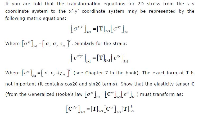 If you are told that the transformation equations