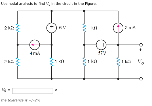 Use nodal analysis to find V0 in the circuit in th