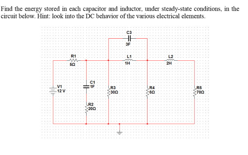Find the energy stored in each capacitor and induc