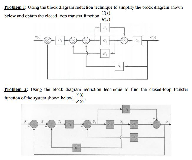 problem 1: using the block diagram reduction techn | chegg,Block diagram,Block Diagram Reduction Techniques
