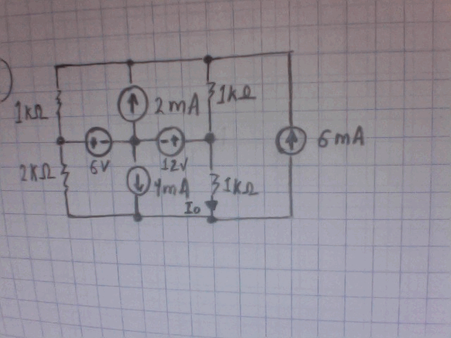 Find Io in the following circuit by mesh analysis.
