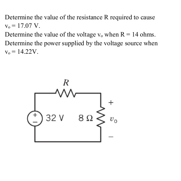 Determine the value of the resistance R required t