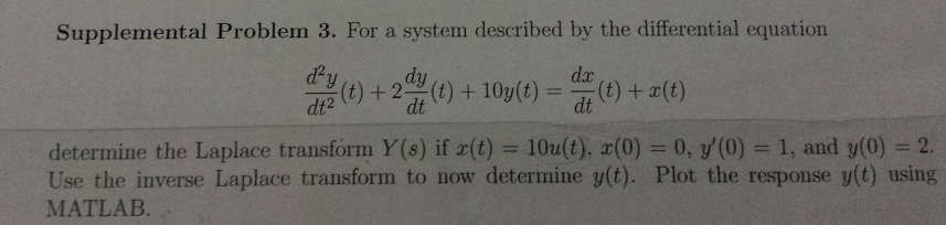 Supplemental Problem 3. For a system described by