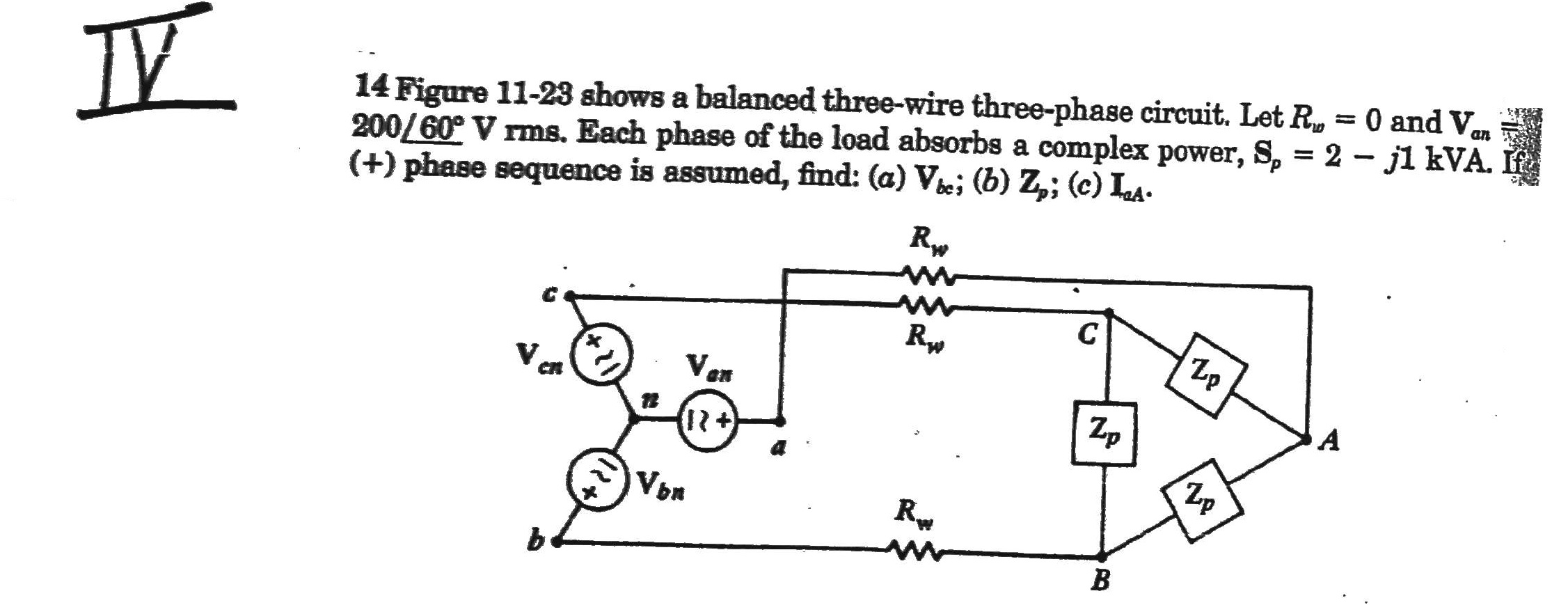 14 Figure 11-29 shows a balanced three-wire three-