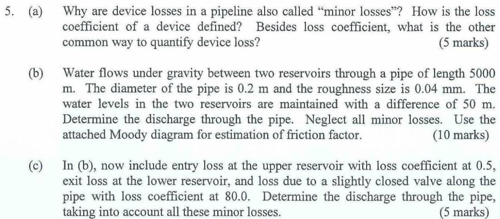 Solved a why are device losses in a pipeline also calle 5 a why are device losses in a pipeline also called minor losses ccuart Choice Image