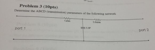 Determine the ABCD (transmission) parameters of th