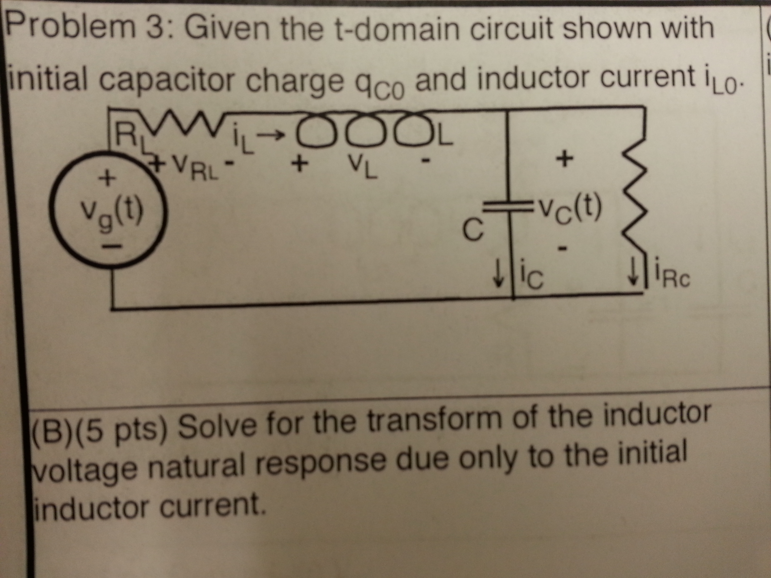 Given the t-domain circuit shown with initial capa